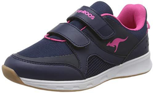 KangaROOS Courty V, Zapatillas de Deporte Interior Unisex Niños, Dk Navy/Daisy Pink 4204, 34 EU