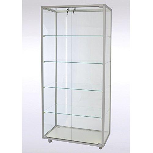 Staande vitrinekast glas met LED-verlichting CVL717 met LED-stripverlichting met slot op poten