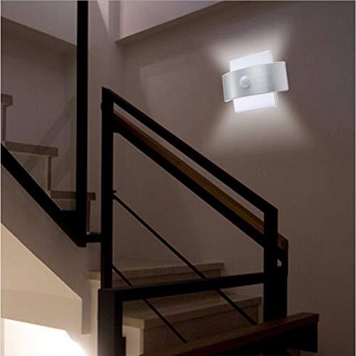Djkaa Infrarood bewegingssensor LED nachtlampje batterij + oplader USB vermogen LED wandlamp voor slaapkamer kast trapkast keuken