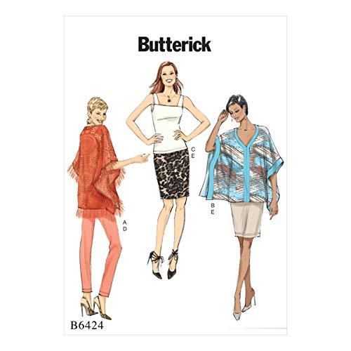 Butterick Patterns Butterick 6424A5, Schnittmuster Poncho, Top, Rock und Hose, Größen 6–14, Mehrfarbig