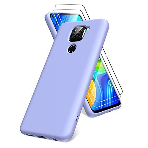 Oududianzi Funda para Xiaomi Redmi Note 9, Protector Pantalla Cristal Templado, Carcasa de Silicona Líquida Gel Ultra Suave Funda con tapete de Microfibra Anti-Rasguño - Morado