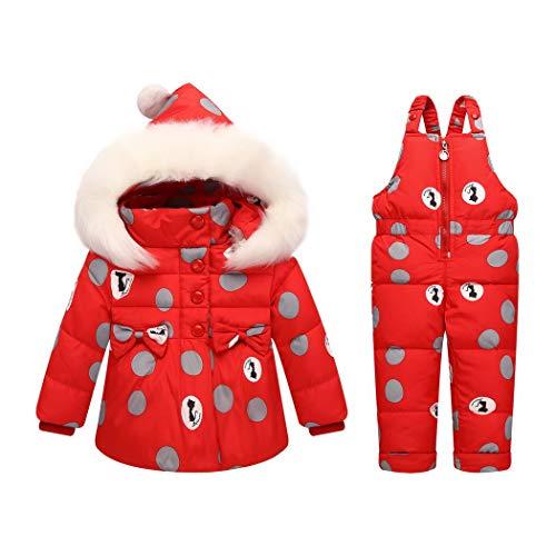 Premewish Baby Mädchen Schneeanzug Set,2 TLG Daunenjacke und Schneelatzhose,Kapuze mit abnehmbaren Plüschbesatz - kw816 (24-36 Monate, Rot)