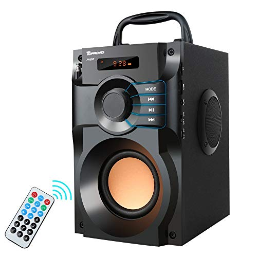Portable Bluetooth Speaker 10W Subwoofer Heavy Bass Wireless Outdoor Speaker MP3 Player Line in Speakers Support Remote Control FM Radio TF Card LCD Display for Home Party Phone Computer PC (Renewed)