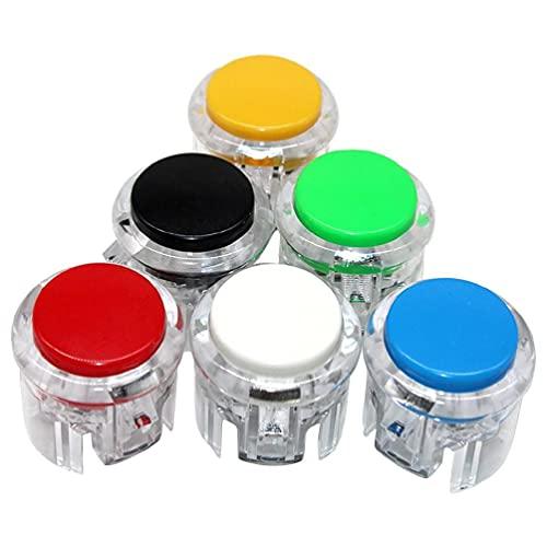 SHAOKAO Botón de arcada de 30 mm incorporado micro perfecto reemplazar Jamma Game Switch Pulsador transparente Muti-colores juego interruptor de botón