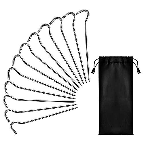 YeenGreen Zeltheringe, 12 Stück Metall Zelthaken Stahl, Aluminium Zeltheringe Heringe aus Stahl mit Nylontasche für Camping und Outdoor, 18cm lang