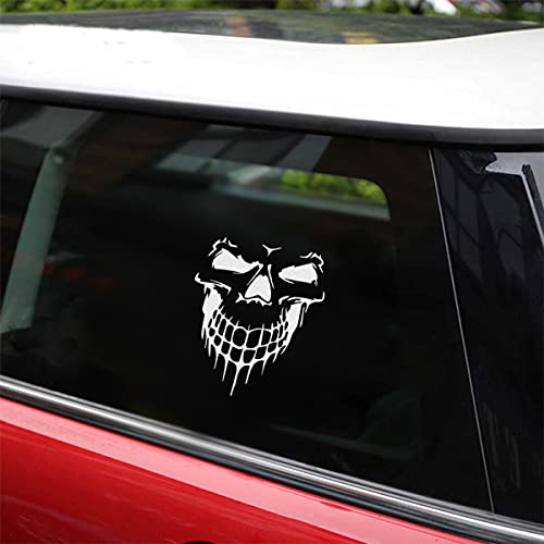 Skull Stickers and Decals for Car Windows Doors, 3D Reflective Waterproof Skull Decals for Cars Trucks (White)