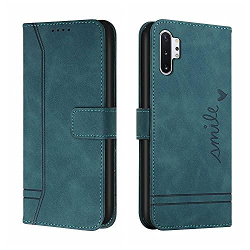 LUSHENG Billetera Funda para Galaxy Note 10+, con Soporte Ranuras para Tarjetas A Prueba de choques Cuero PU TPU Suave Voltear Cover Compatible con Samsung Galaxy Note 10 Plus 6.8' - Verde