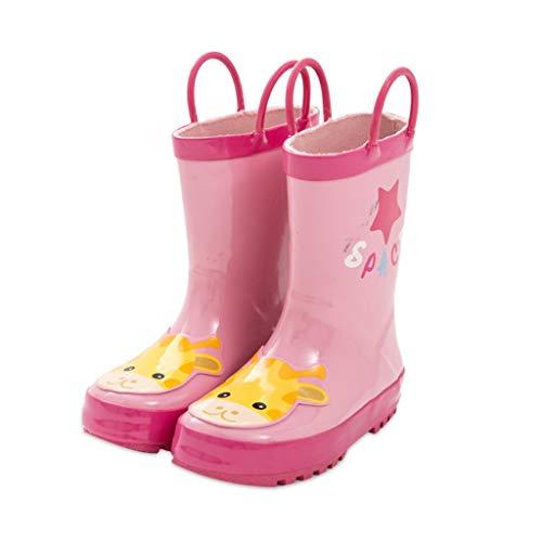 WXYPP Kinder Rubber Regen Stiefel Mädchen wasserdichte Regen Stiefel Rosa Wasserpumpe rutschfeste Sohle (Color : Pink, Size : 20cm)
