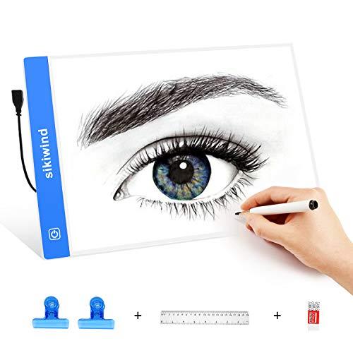 Caja de Luz LED Regulable SIKIWIND A4 Tableros de Dibujo de Seguimiento Ultradelgada con Cable de Alimentación USB para 5D Pintura de Diamante DIY - Dibujo de Artistas y Animación etc(Azul)