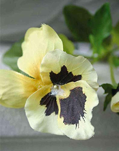 artplants.de Pensamiento Artificial Melinda, Amarillo, 30cm - Pensamiento de simulación/Flor Falsa