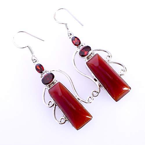 Red Agate & Garnet Gemstone 925 Solid Sterling Silver Dangle Earrings Beautiful Handmade Jewelry,For Girls FSJ-5294