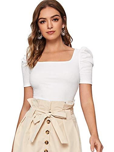 DIDK Damen Strickshirt Langarmshirt Elegant Tops Pullover T-Shirt mit Puffärmeln Shirts Oberteile Einfarbig Pulli Casual Tunika Basic Top Weiß#2 L