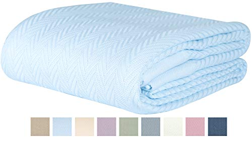 Threadmill Home Linen 100% Combed Cotton Blanket Herringbone Soft Breathable Full/Queen Size Blue