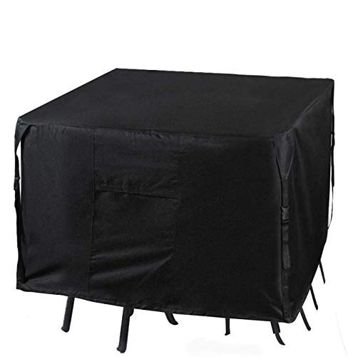 Chusstang Garden Furniture Cover Waterproof, 420D Polyester Fabric Outdoor Dining Set Cover Patio Dustproof/Windproof/Anti-UV Rectangular/Oval Cover for Sofas and Chairs - 125x125x71cm