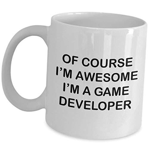 Ceramic Mugs 11 Oz Tea Cup White Video Game Designer of Course Im Awesome Funny Cute Gag Recognition Reward Idea Developer Design Gaming Devm Development Men Women Gamer Appreciation Award