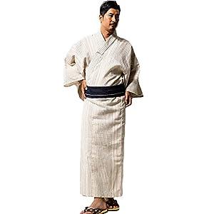 33497メンズしじら浴衣セットワンタッチ帯 (LL, オフホワイト(浴衣 帯 雪駄 3点セット))