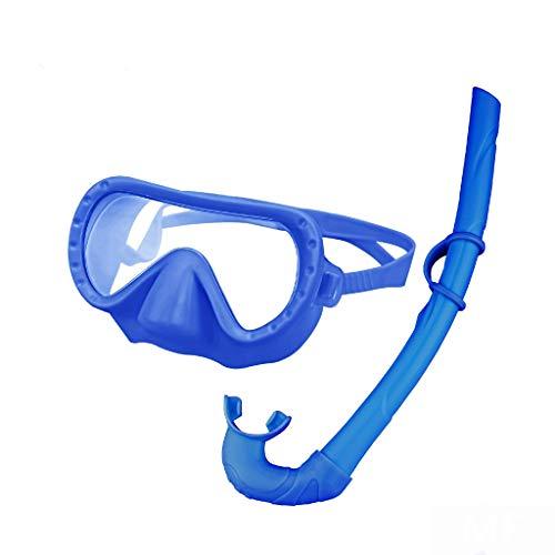 Affe Wald Schnorchel Set für Kinder, Anti-Fog kein Leck einstellbare Schnorcheln Ausrüstung frei atmen Scuba Schnorchel Maske und nassschnorcheln mit Mesh-Tasche für Jungen und Mädchen (blau)