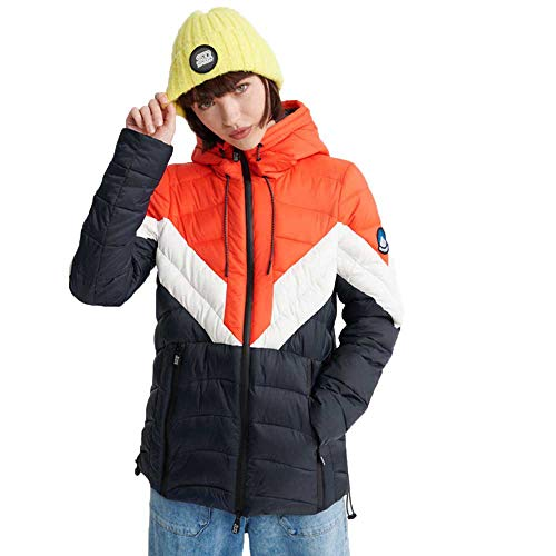 Superdry Damen Colour Block Eclipse Padded Jacket Jacke, Blau (Patriot Blue SBS), M (Herstellergröße:12)