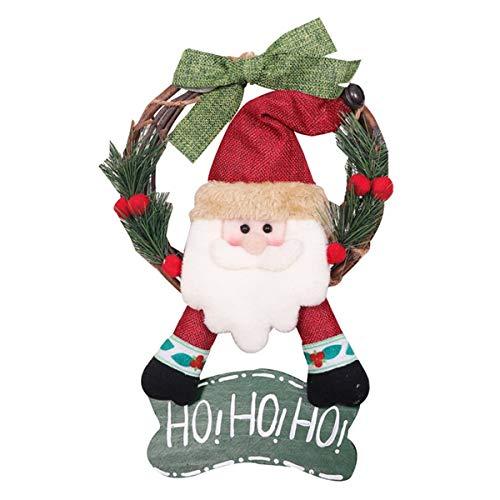 Senmubery Christmas Wreath - Cute Santa Christmas Wreath Indoor Winter Holiday Wreaths Front Door Christmas Decoration