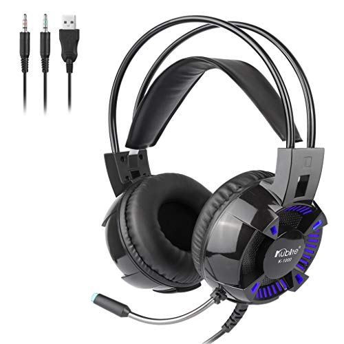 Great Deal! Kuerqi Kubite K1000 Wired Surround Sound Gaming All-Platform Gaming Headset for PC, Play...