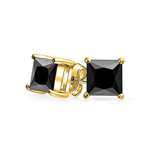 2CT Black Square Cubic Zirconia Princess Cut AAA CZ Stud Earrings For Men 14K Gold Plated 925 Sterling Silver 8MM