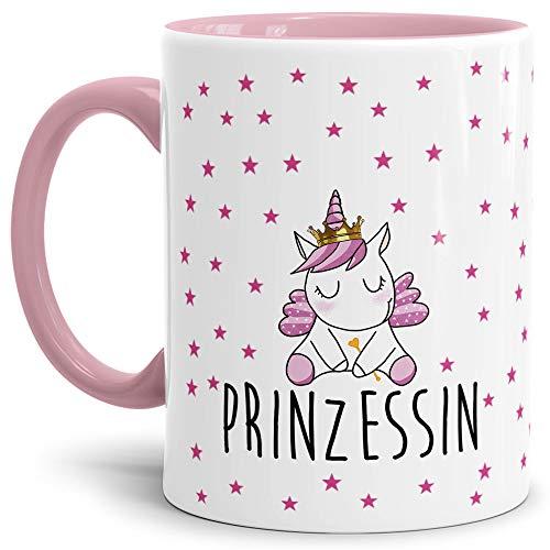 Tassendruck Einhorn-Tasse mit Spruch Unicorn - Prinzessin Stern - Glitzer/Rosa/Geschenk-Idee/Stern/Regenbogen/Innen & Henkel Rosa