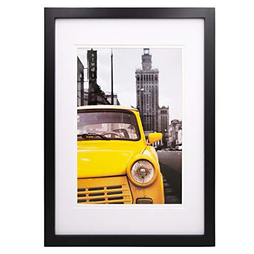 Egofine A3 Bilderrahmen schwarz - besteht aus Massivholz und Plexiglas-Frontscheibe für Wandmontage mit Passepartout 21x30 cm