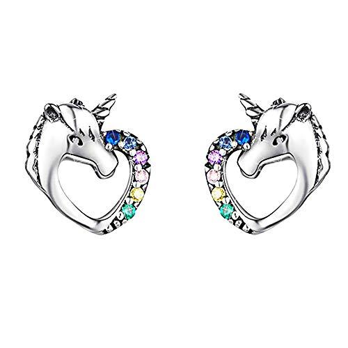 Pendientes de Unicornio de plata de ley 925,Circonitas Cúbicas Coloridas En forma de corazon Hipoalergénicos Aretes,Navidad Cumpleaños Regalo para Mujeres Niñas Hija y Adolescente, Caja de regalo