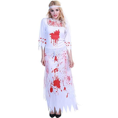 WANLN Horror Zombie Bride Dress Disfraz de Halloween para Mujer Vampire Devil Costume Cosplay Ghost Bride Ladies Fancy Party Dresses Sexy,M