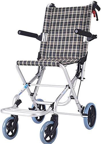 IREANJ Sillas de ruedas plegable de aleación de aluminio silla de ruedas The Elderly Hand Push Scooter Amortiguador Neumáticos Multifunción portátil Discapacitados sillas de ruedas mayores