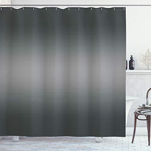 ABAKUHAUS Ombre Duschvorhang, Grau Rauch Rauch Design, mit 12 Ringe Set Wasserdicht Stielvoll Modern Farbfest & Schimmel Resistent, 175x200 cm, Anthrazit grau Hellgrau