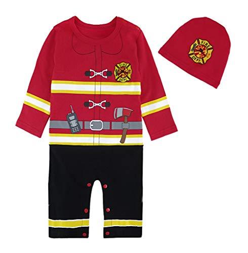 MOMBEBE COSLAND Déguisement Pompier Bébé Garçons Barboteuse Halloween Costume (6-9 Mois, Rouge)