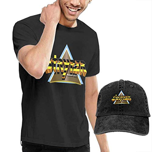 AYYUCY Camisetas y Tops Hombre Polos y Camisas, Dingtai Stryper Triangle Logo (1) Men's Short Sleeve T Shirt and Adult Washed Cowboy Hat