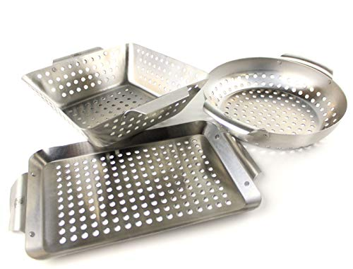Yukon Glory 3-Piece Mini BBQ Grill Accessories Basket Set, for...