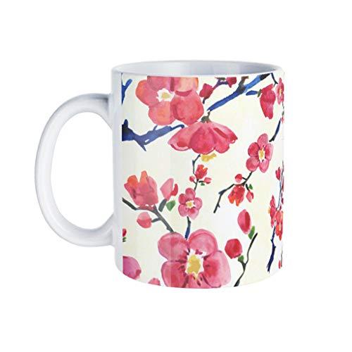 KittyliNO5 Taza de café de porcelana con flores rojas, diseño de árboles, ideal como regalo para novios, color blanco, talla única