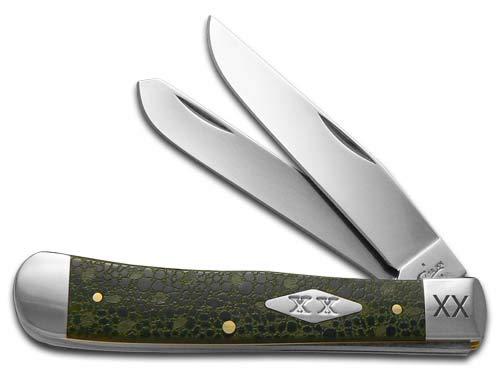 CASE XX Lizard Skin Olive Green Bone Trapper 1/500 Stainless Pocket Knife Knives