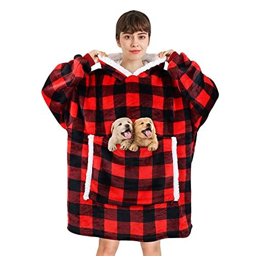 Sudadera con capucha de gran tamaño – Manta de TV súper suave estilo hawaiano con bolsillo frontal grande, sudadera con capucha de forro polar cálido, g, talla única
