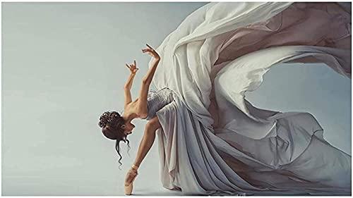 HHLSS Arte de Pared 60x120cm sin Marco Elegante Bailarina Modelo Carteles e Impresiones Danza Chica Fotos decoración del hogar