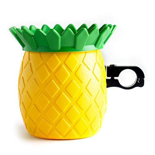 Yoyoapple Bike Cup Holder Motorcycle Cute Pineapple Drink Holder Bicycle Water Bottle Holder with Metal Clamp for Beach Cruiser Motorcycle Bike Boat Stroller Walker Wheelchair Scooter Golf Cart Desk