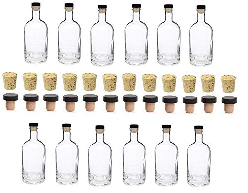 Nakpunar 12 pcs, 12 oz Heavy Base Glass Liquor Bottle with T-Top Synthetic Cork and Regular Bottle Cork - Made in the USA (12, 12 oz (375 ml))