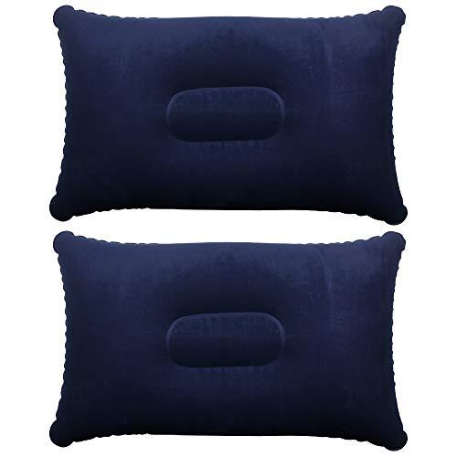 TRIXES 2 x Blaue Aufblasbare Kissen für Camping und Reisen aus Weichem Material