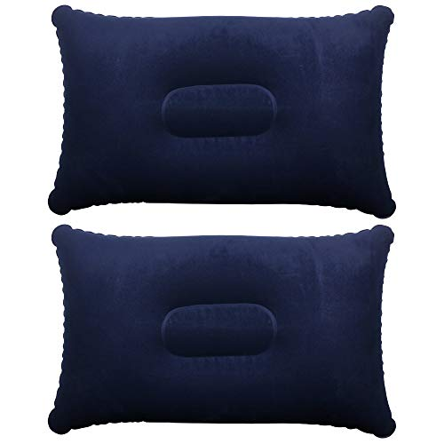 TRIXES Inflatable Pillow For Travel or Camping - Blow up Pillow - Blue Twin Pack