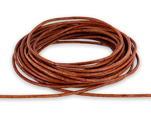 Auroris - 5m Lederband rund - Ø 2mm - antik-Hellbraun