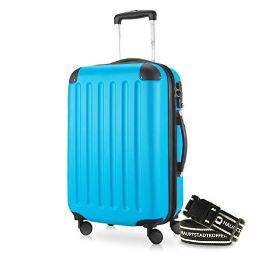 Hauptstadtkoffer - Spree Handgepäck Kabinentrolley Bordgepäck Hartschalen-Koffer, sehr leicht, TSA, 55 cm, 42L, Cyan Blau +Gepäckgurt