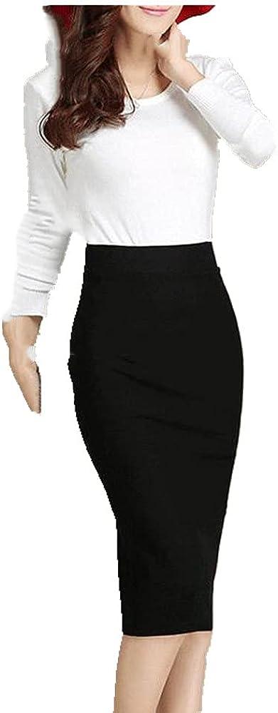 Black Red Burgundy Skirt Women Business Wear Work Split Skirt Stretch