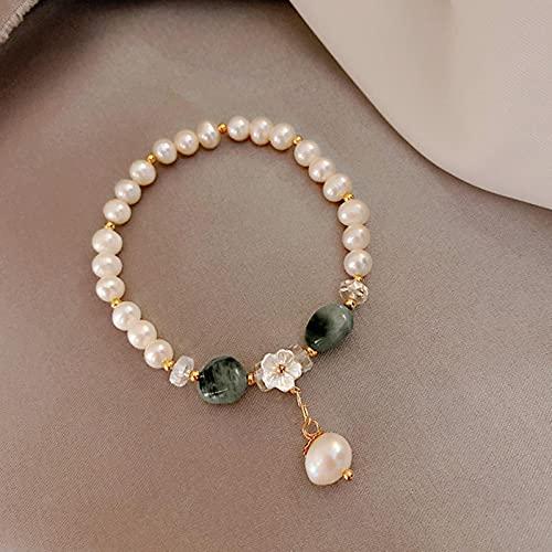 SONGK Pulsera de Perlas de Agua Dulce Natural, Pulseras de Cuentas de Piedra Natural para Mujer, joyería, Pulsera de Flores de Perlas barrocas para el Mejor Amigo