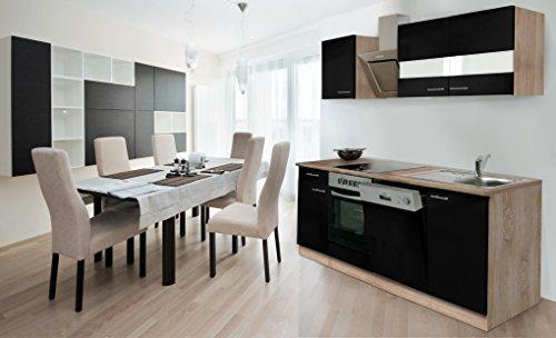 respekta Einbau Küche Küchenzeile 220 cm Eiche Sonoma Sägerau Front schwarz inkl. Ceran & Designer-Schräghaube