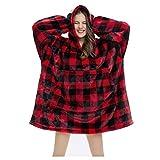 Skag Hoodie Grande Taille - Oversized Plush Couverture Sweat à Capuche Hiver Chaud Hooded Sweatshirt Long en Polaire Sherpa et Coton avec Poches pour Homme et Femme