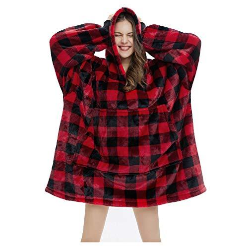 Merry Christmas Winter Women Oversize Hooded Flannel Blanket Indoor Comfortable Outdoor Windproof Supersize Cloak Hoodie Red