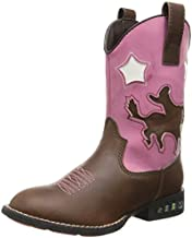 Roper Star Rider R Toe Light Up Cowgirl Boot (Toddler/Little Kid), Brown, 1 M US Little Kid